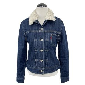 Levi's Women Sherpa Trucker Dark Blue Winter Jean Jacket Size Medium